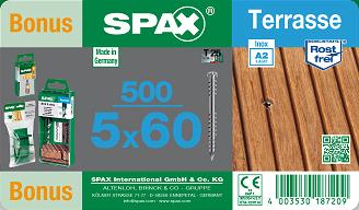 Spax 5x60 Wkręt Tarasowy Zestaw 500szt Inox Gratis Wkręty